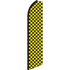Checkered Black/Yellow Swooper Feather Flag
