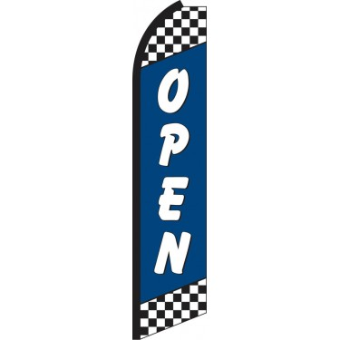 Open Blue Checkered Swooper Feather Flag