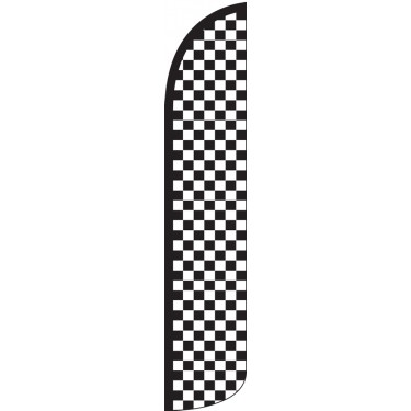 Checkered Black/White Wind-Free Feather Flag