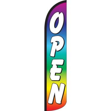 Open Rainbow Wind-Free Feather Flag