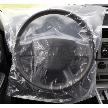 Slip-N-Grip® Slide-On Plastic Disposable Steering Wheel Covers (Roll of 500)